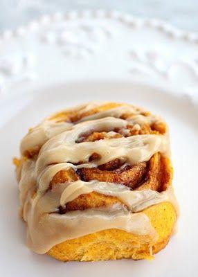 Pumpkin Cinnamon Rolls with Caramel Frosting.