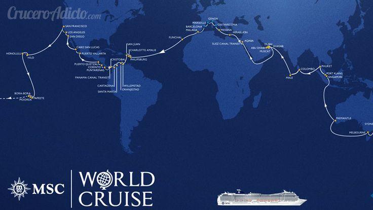 ULTIMA HORA!. Acaba de ser presentada la VUELTA AL MUNDO en 119 días de MSC Cruceros. Te contamos todos los detalles de este épico viaje