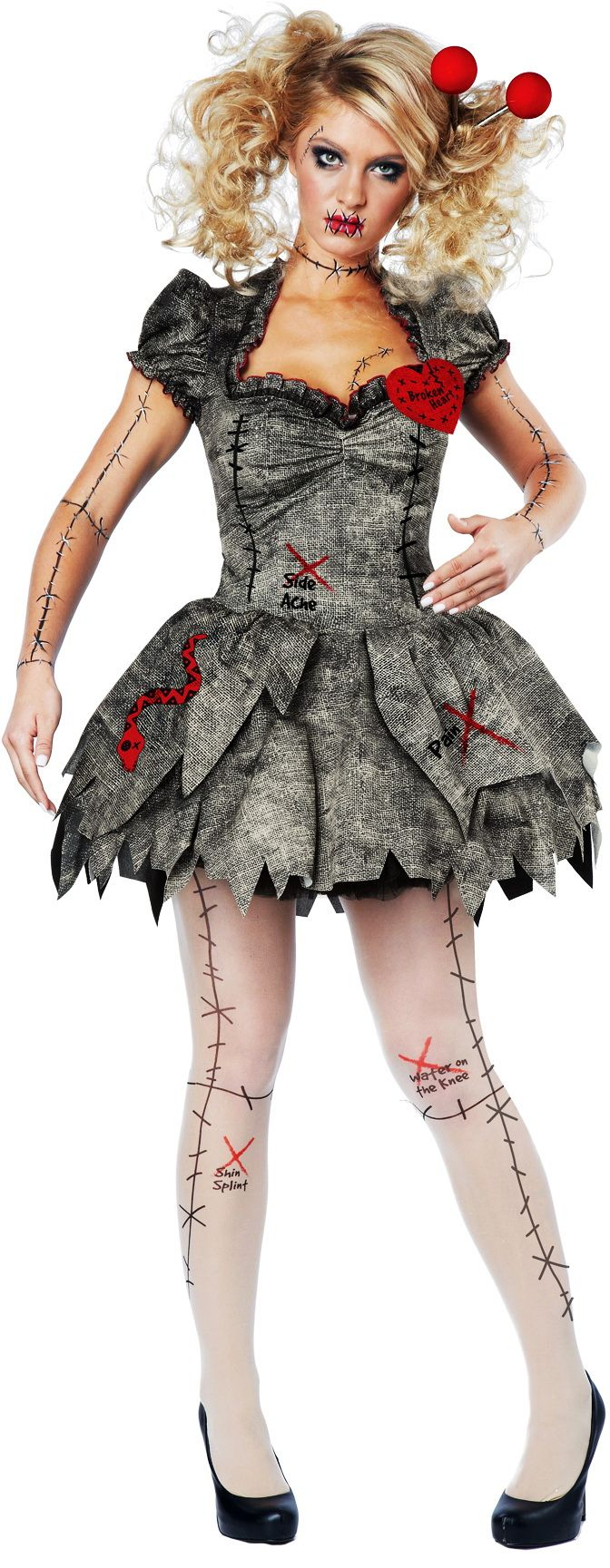 Creepy Pins & Needles Voodoo Outfit Halloween Rag Doll Costume Adult Women