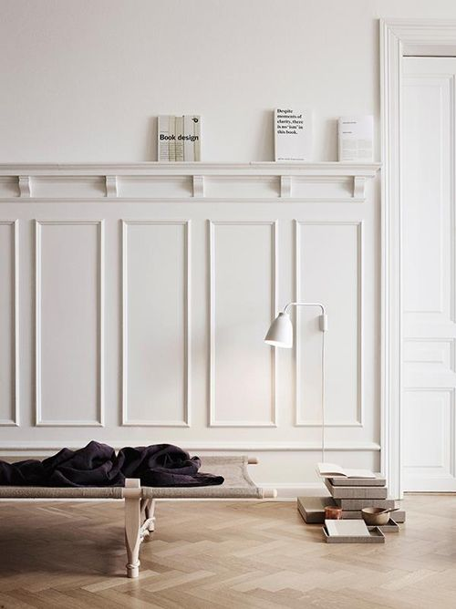 = white mouldings and picture rail