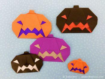 4 Cute Halloween Origami Models! | #origami #paperkawaii #diy #paperfolding #cute #kawaii
