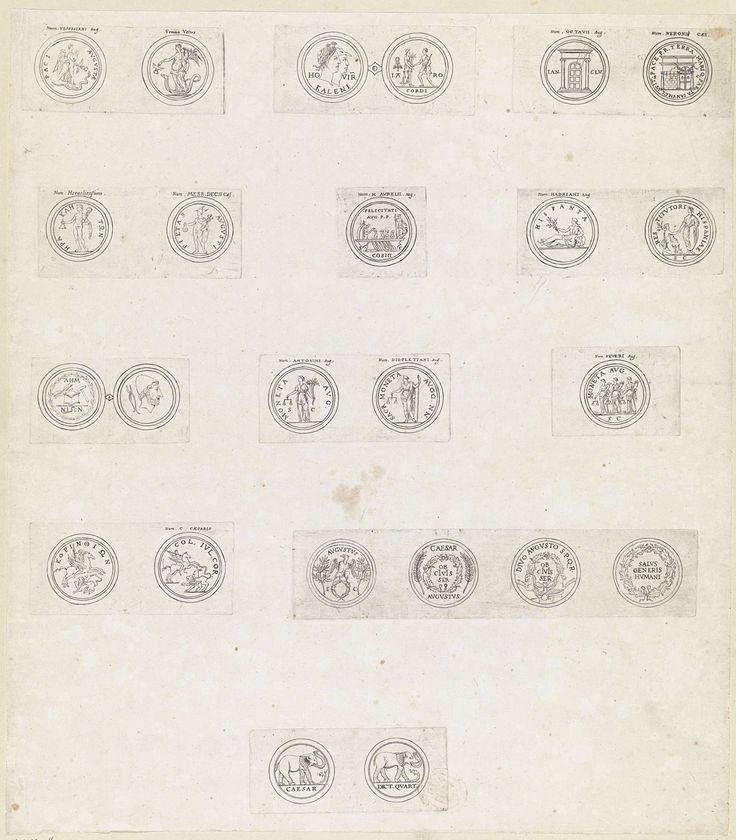 Theodoor van Thulden | Vierentwintig Romeinse munten met deviezen en emblemen van keizers, Theodoor van Thulden, 1642 |