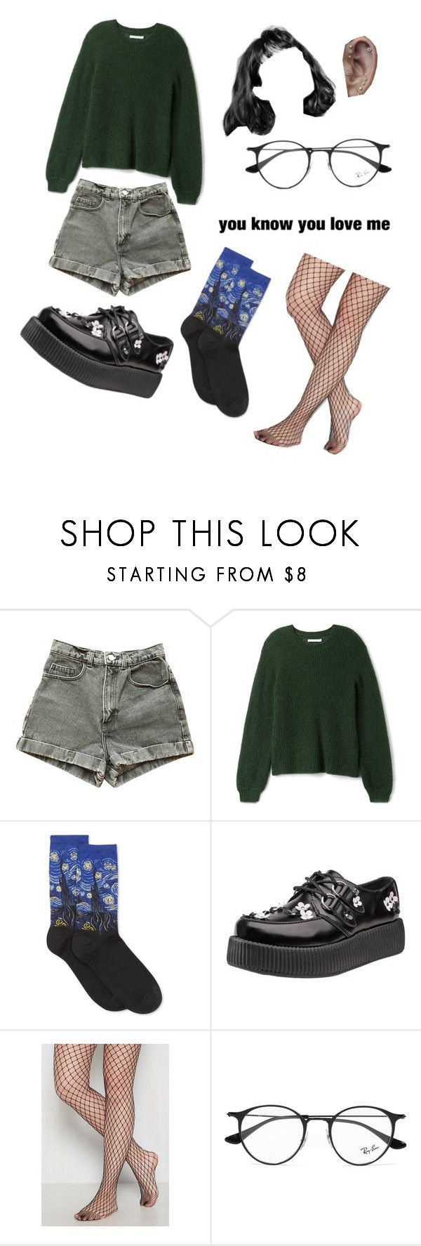"""""""…what's up"""" by metheexcellent ❤ liked on Polyvore featuring American Apparel, HOT SOX and Ray-Ban"""