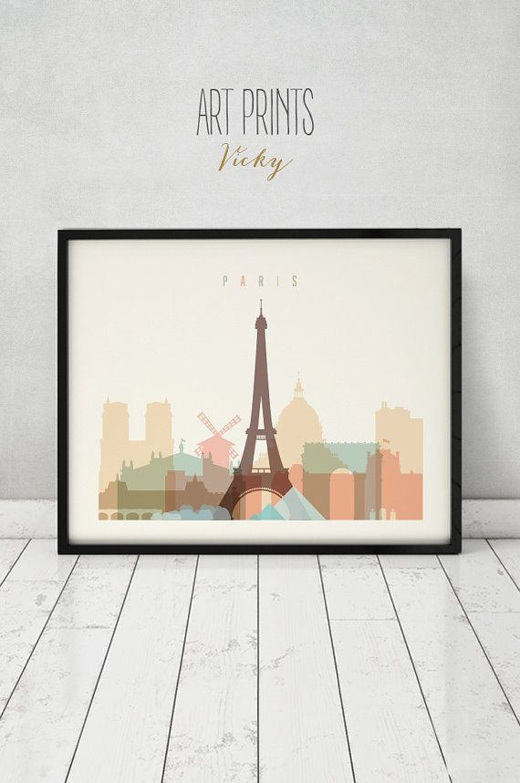 Paris zu drucken Plakat Typografie Kunst von ArtPrintsVicky auf Etsy