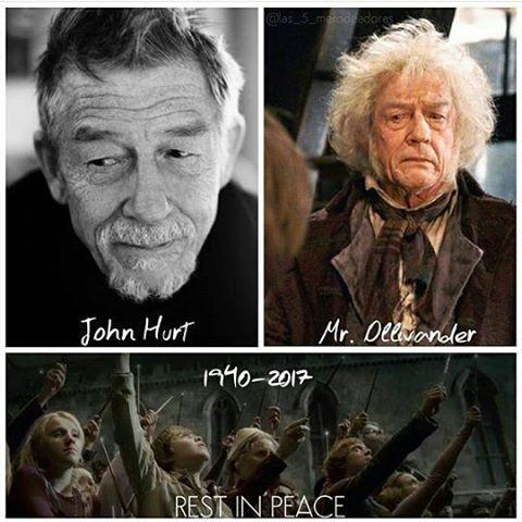 RIP John Hurt. Il a joué Ollivander dans Harry Potter ~Lupea #ripjohnhurt