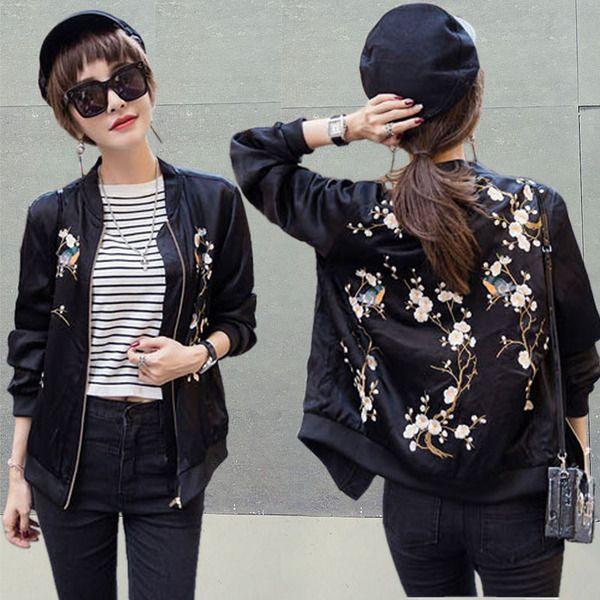 Short jacket female autumn 2016 new wave of Korean version of the Spring and Autumn student bf bomber jacket embroidered jacket baseball uniform