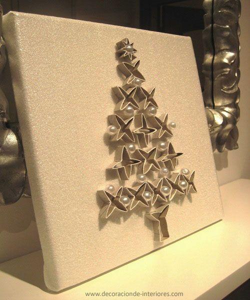 Arbolito con cart n y abalorios decoraci n de interiores - Manualidades con rollos de papel higienico para navidad ...