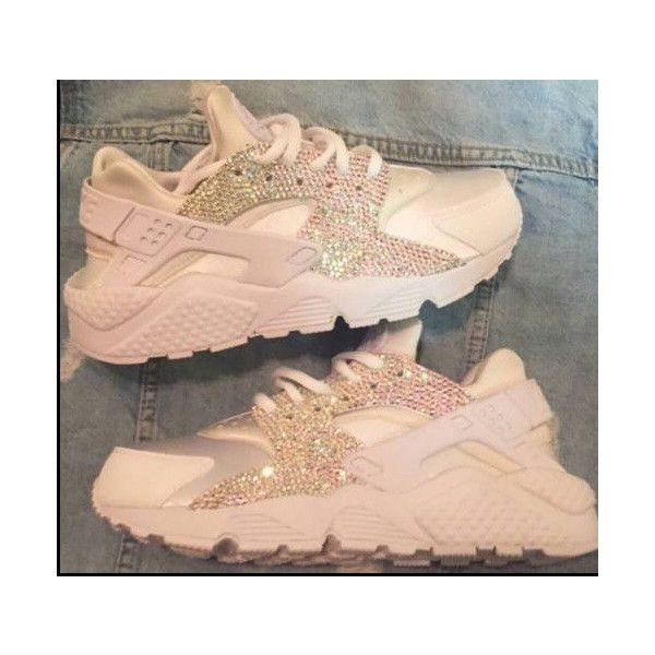 Crystal Ab Nike White on White Huaraches Please Read Description ($268) ❤ liked on Polyvore featuring shoes, sneakers, nike, grey, sneakers & athletic shoes, tie sneakers, women's shoes, white tie shoes, tie shoes and gray shoes