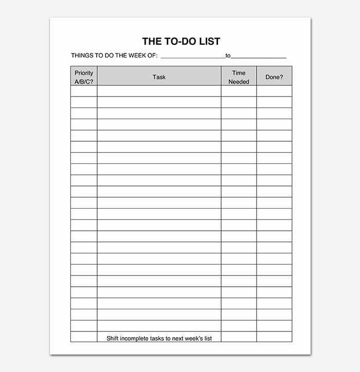 Pin On Example To Do List Template