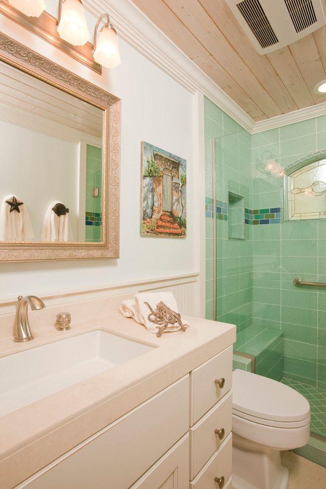 beach themed bathroom decor fish towel holder silestone countertop blue sea shower tiles shower glass door toilet wood ceiling of Wonderful Beach Themed Bathroom Decor Ideas