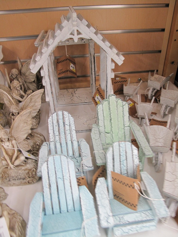 """Mini beach chairs and wheel barrow home accents from the """"Garden Wonders"""" Collection at Stauffers Garden Centers. Find your location at www.skh.com."""