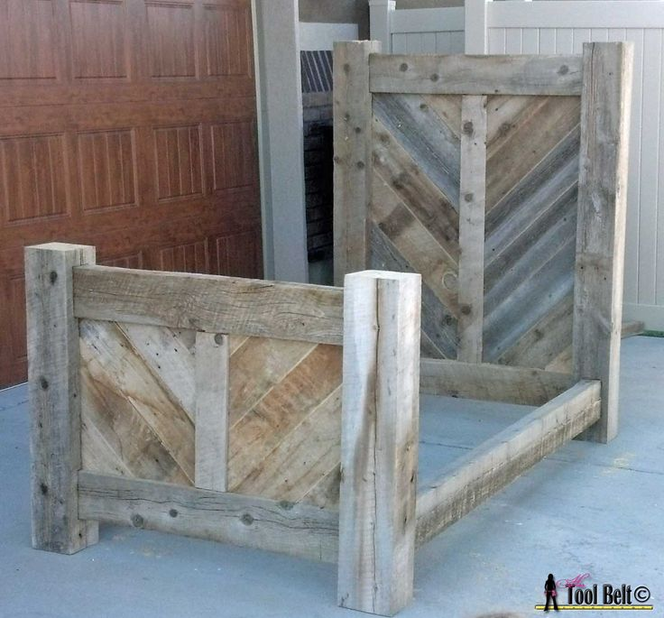Rustic reclaimed wood bed plan. 46 best wood working images on Pinterest
