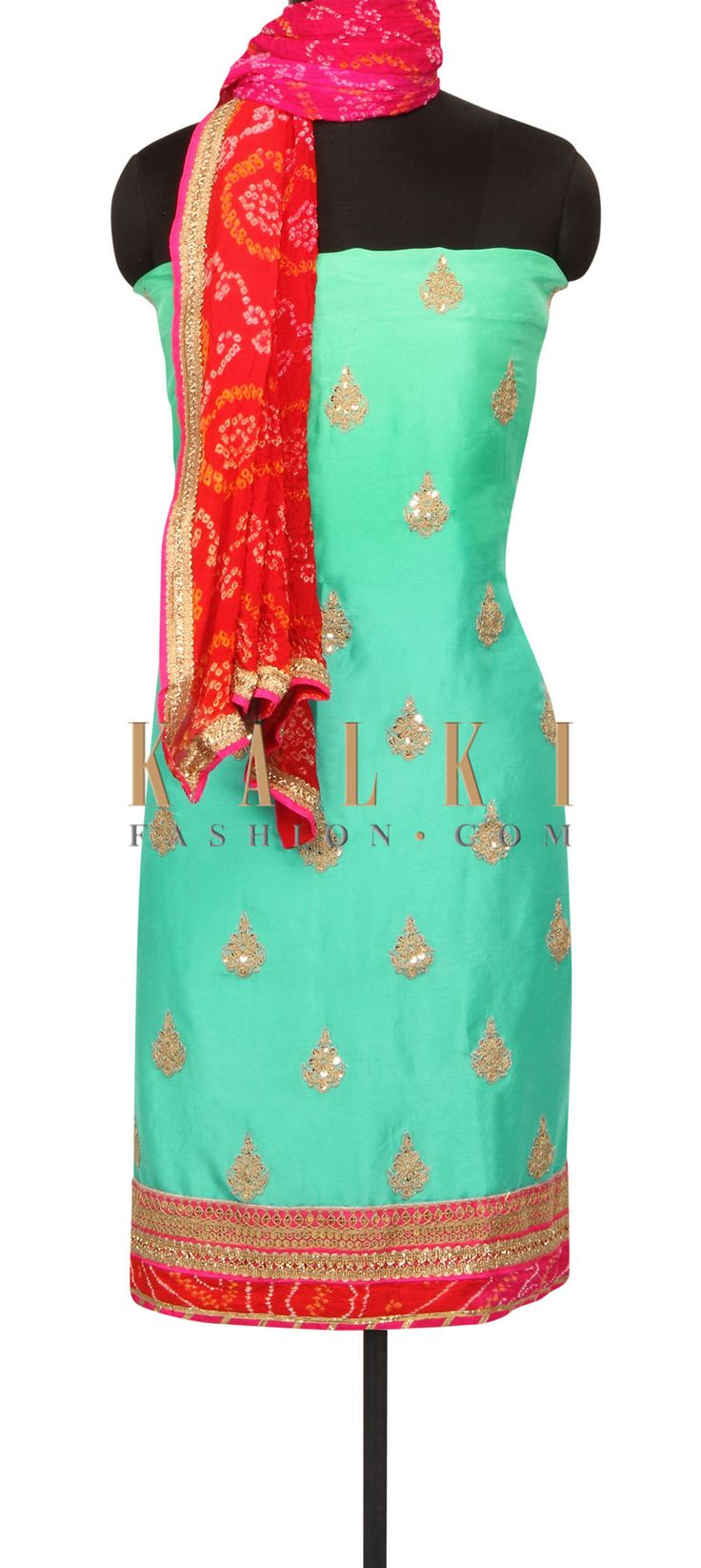 Sea blue and sea green shaded unstitched suit only on Kalki