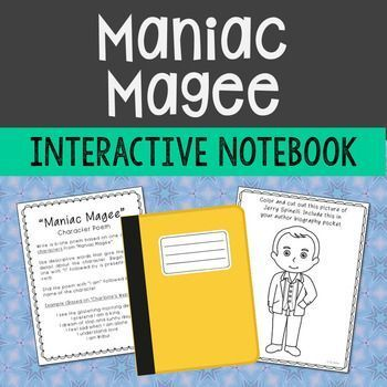"""Maniac Magee Interactive Notebook Novel Study – Low Prep and Stress-Free.   Looking for the """"Maniac Magee"""" worksheet-type activities? You can find them HERE:  MANIAC MAGEE NOVEL UNIT   This interactive notebook novel study is designed to be a relaxed unit for both teacher and students."""