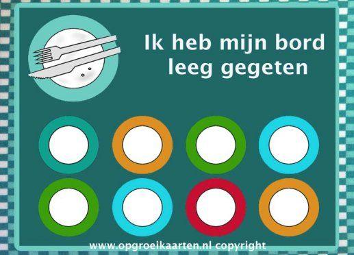 Beloningskaart bord leegeten | Hopelijk stimuleert deze beloningskaart je kind om zijn bordje leeg te eten. Tip: schep niet teveel op, het is voor kinderen leuker om een tweede keer op te scheppen.