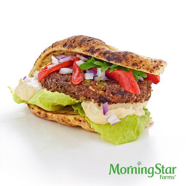 The Mediterranean Quinoa Burger – made with MorningStar Farms® Roasted Garlic & Quinoa Burgers (they're vegan!)