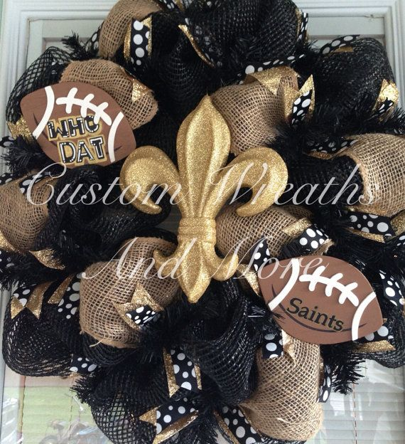 WHO DAT New Orleans Saints Football Wreath with glitter gold fleur de lis.  on Etsy, $89.00