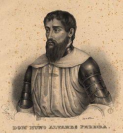 Nuno Álvares Pereira (1360-1431) é uma das figuras mais famosas da história de Portugal . Foi um nobre e guerreiro português do século XIV que desempenhou um papel fundamental na crise de 1383-1385, onde Portugal jogou a sua independência contra Castela na célebre batalha de Aljubarrota no ano de 1385
