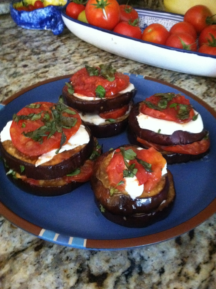 Baked balsamic eggplant and tomato stack, with fresh mozzarella and ...