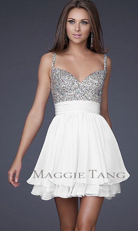 This could be a fun bachelorette party dress. I like the sweetheart top and the a line skirt