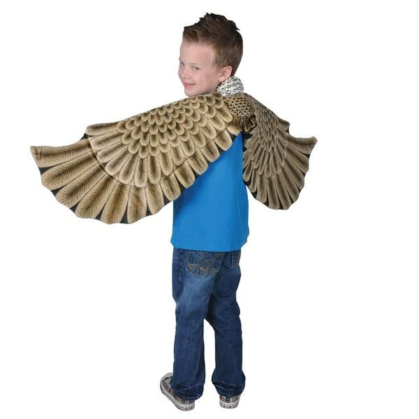 Soft fabric wings Realistic eagle feather pattern Great for school plays July 4th idea! Fun for pretend play or Halloween WARNING: CHOKING HAZARD -- Small Parts