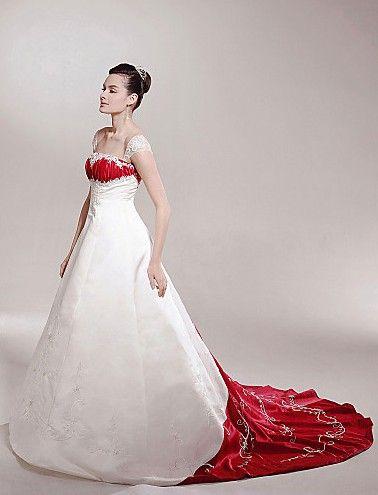 Directsale A-line Off-the-shoulder Chapel Train Satin Luxury Wedding Dress Free Measurement