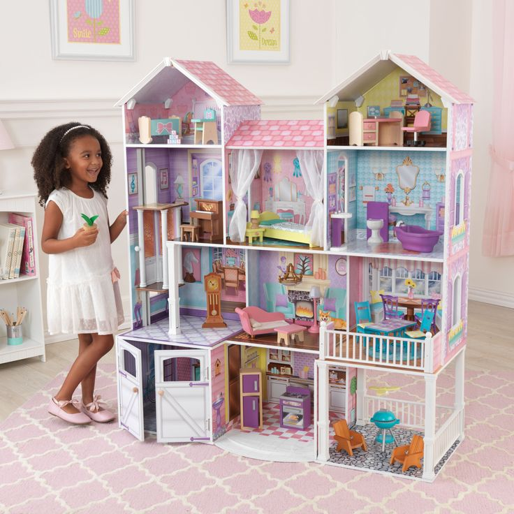 Young boys and girls are sure to love our brand new Country Estate Dollhouse. This deluxe wooden dollhouse is over 4 feet/122 cm tall and comes with 30 fun furniture pieces.