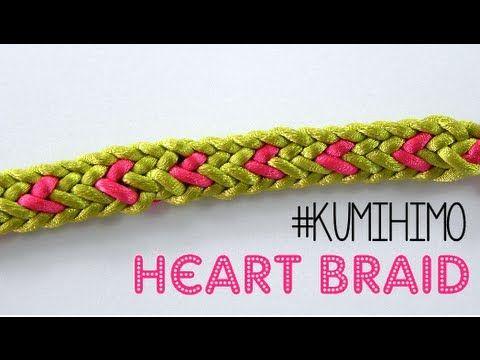 ▶ KUMIHIMO: HEART BRAID - TRENZADO CON CORAZÓN - YouTube
