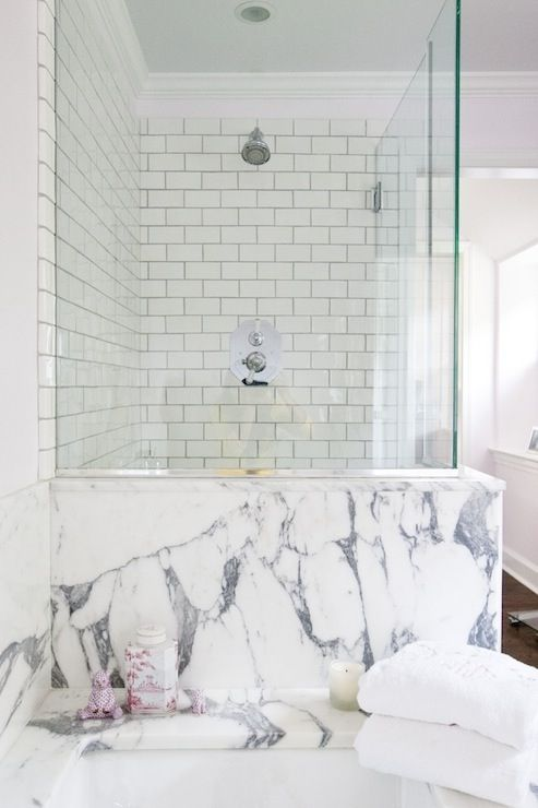 marble + subway tile