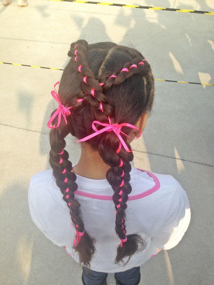 Penteado infantil com fitas #penteadoinfantil #penteado #hairstyle #toddlerhairstyle #braid #braids #ribbonbraid #ribbonbraids #trança #trançaquatropontas #trançacomfita