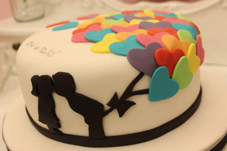 Tarta de boda diferente, sencilla y a la vez original y colorida