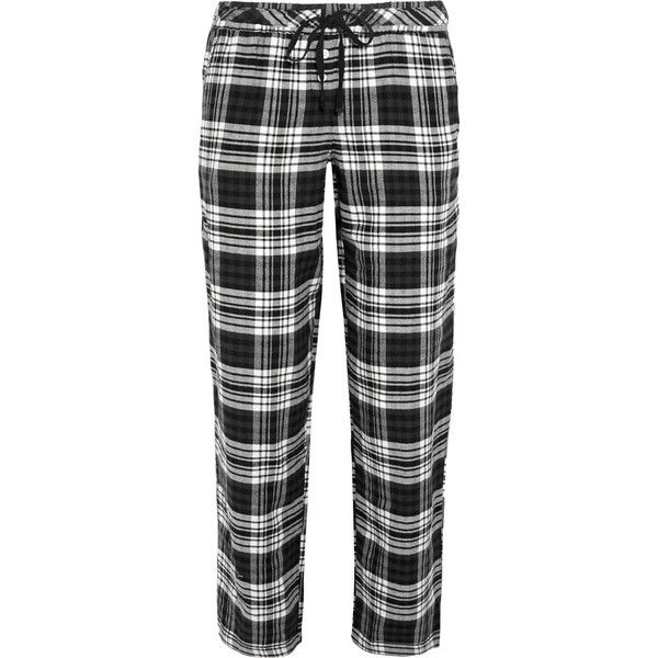 DKNY Sleepwear City Grid cotton-blend flannel pajama pants ($29) ❤ liked on Polyvore featuring intimates, sleepwear, pajamas, pants, bottoms, black, dkny, flannel pjs, flannel sleepwear and pj pants