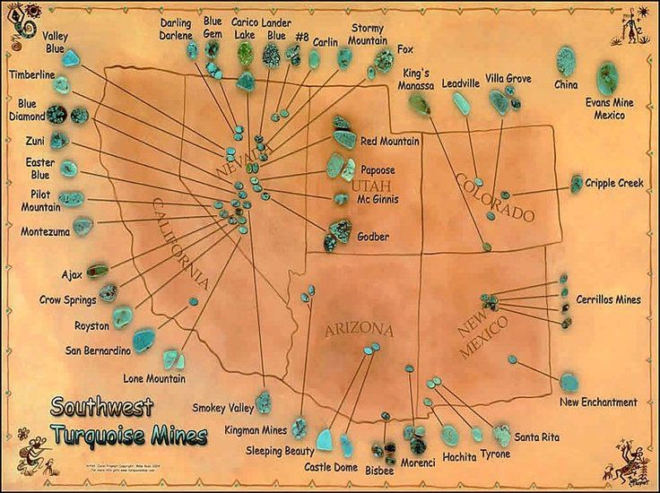 Stones used in Native American Indian Jewelry--A GREAT MAP OF AMERICAN SOUTHWEST TURQUOISE MINES & EXACTLY WHAT THE DIFFERENT KINDS OF TURQUOISE LOOKS LIKE.  VERY ACCURATE INFORMATION.  SEE THEIR WEBSITE FOR TURQUOISE DEFINITIONS.