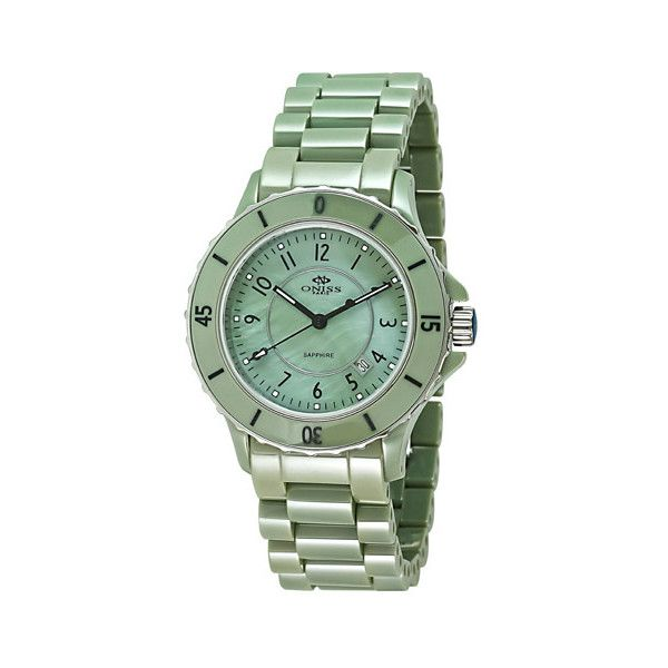 Oniss Women's Ceramica Watch ($610) ❤ liked on Polyvore featuring jewelry, watches, women's accessories, green watches, dial watches, green jewelry, green jewellery and green dial watches