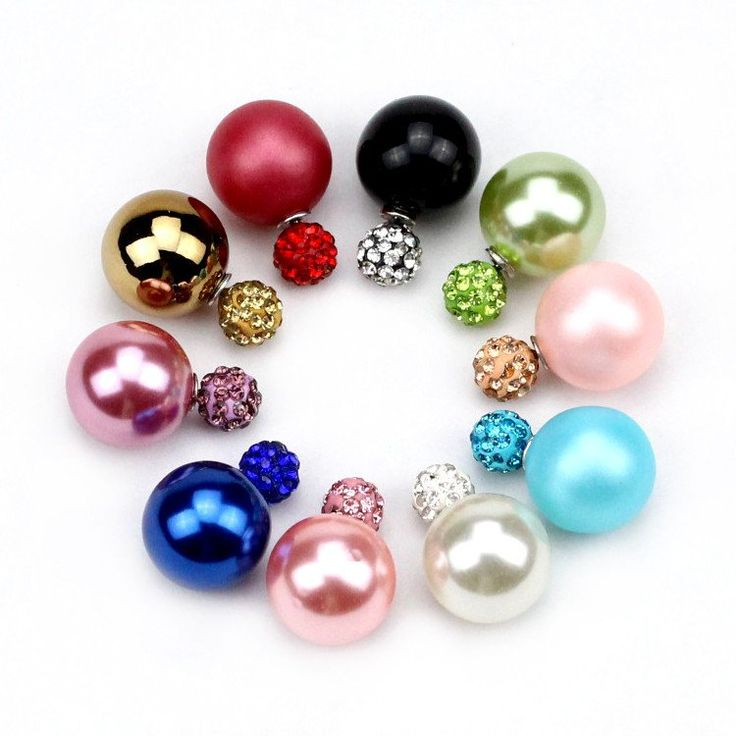 2016 New Fashion jewelry double pearl earrings brincos candy color earrings for women pendientes trendy stud earrings