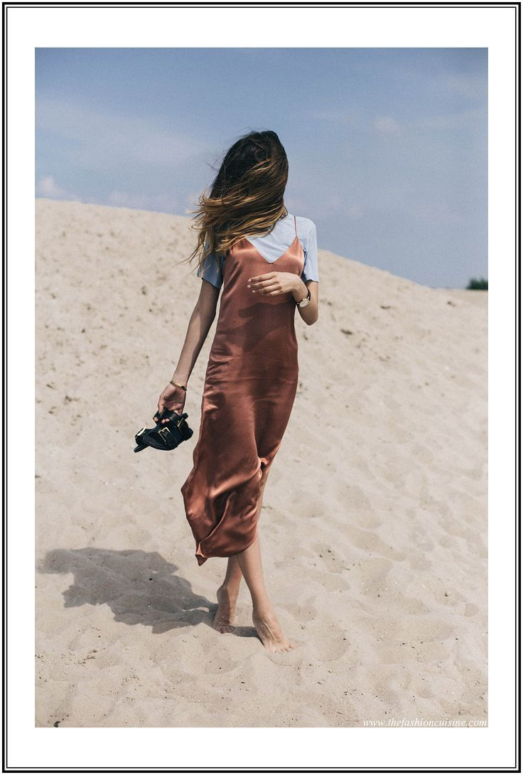 Instead of white or black, try a rust red silk slip dress. To make this dress more casual, layer a tee under it. Let DailyDressMe help you find the perfect outfit for whatever the weather!