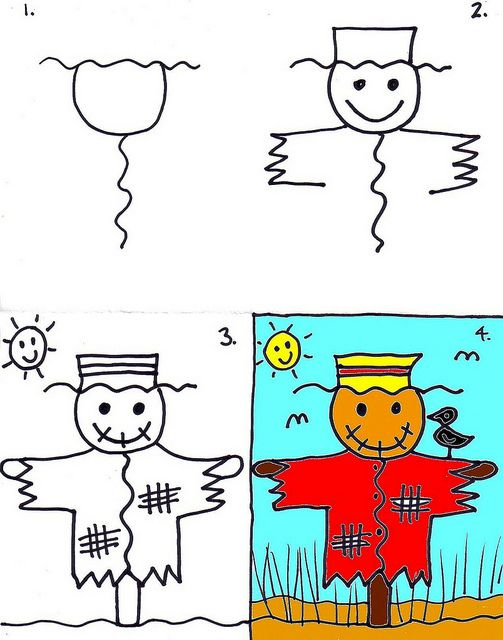 Drawing a scarecrow with kids can be easy and fun!