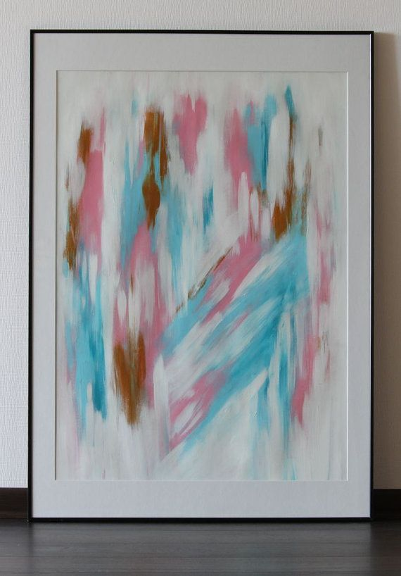 Original abstract acrylic painting on paper pink gold and for Acrylic painting on paper tips