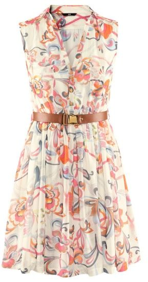 Women Sleeveless V Neckline Elegance Chiffon Print Multi-Coloured Mini Length Dress S/M/L/XL@II0085