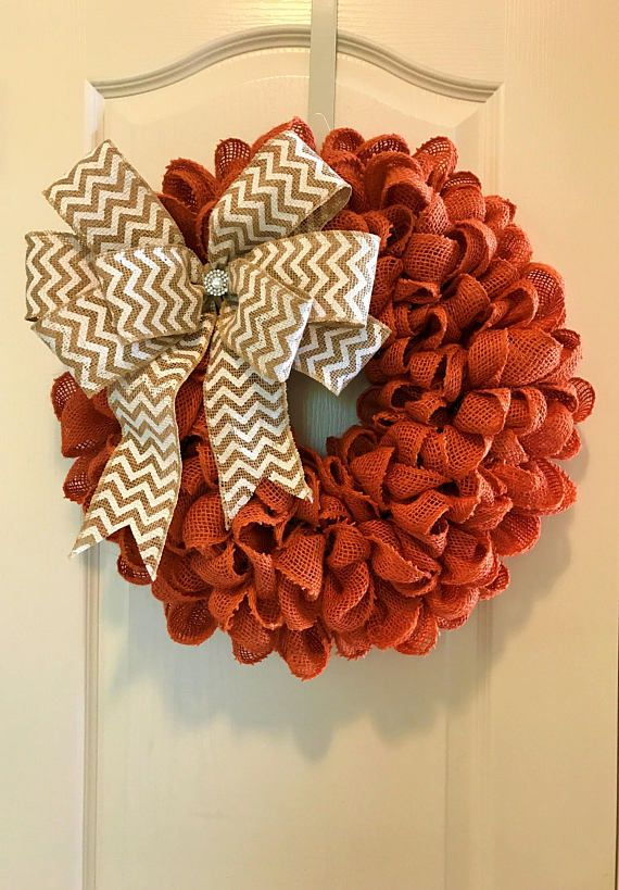 Orange Burlap Wreath with Option to Add Bow & Letter Fall