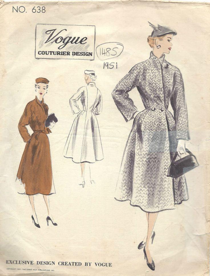 1951 Vintage VOGUE Sewing Pattern B38 COAT (1485)  #Vogue