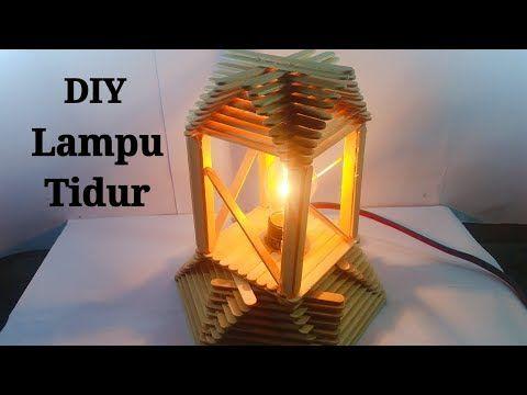 Ide Kreatif Membuat Lampu Tidur Dari Stik Es Krim Youtube Diy Pendant Lamp Craft Stick Crafts Diy Popsicle Stick Crafts