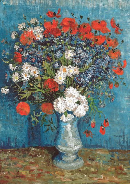 vase with cornflowers and poppies, vincent van gogh (1887)