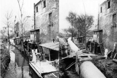 La Bièvre avant et après en 1904 actuelle rue Fontaine à Mulard, 13e