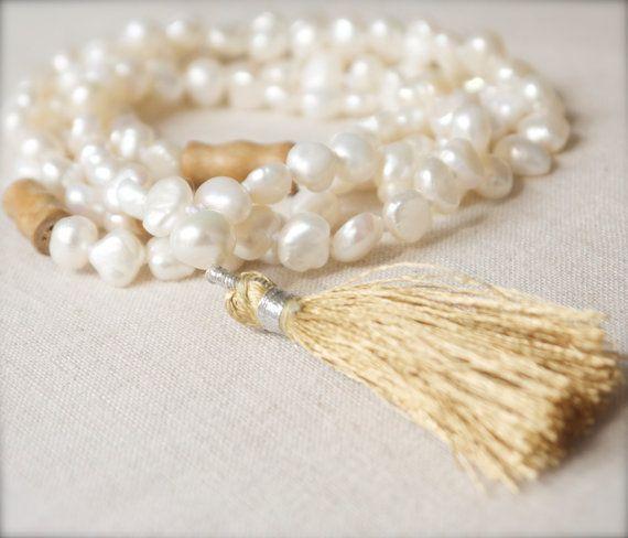 Mala necklace white pearl & wood 108 bead Tibetan Buddhist tassel Yoga Meditation Mantra Chakra Prayer Buddha Nepal Silk