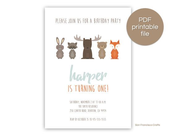 PRINTABLE Woodland Birthday Party Invitation  Our Woodland Birthday Party Invitation is super cute and can be customized with the information