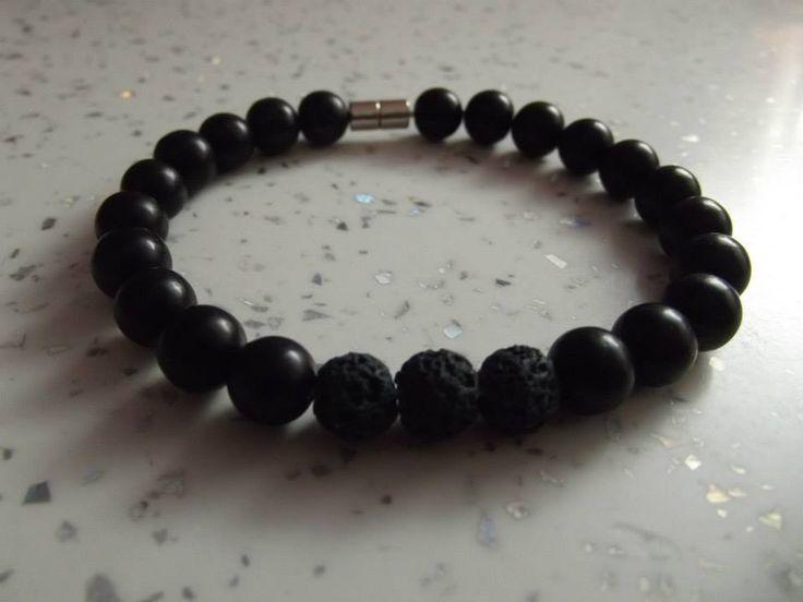 Men's bracelet Black onyx and vulcan lava rock