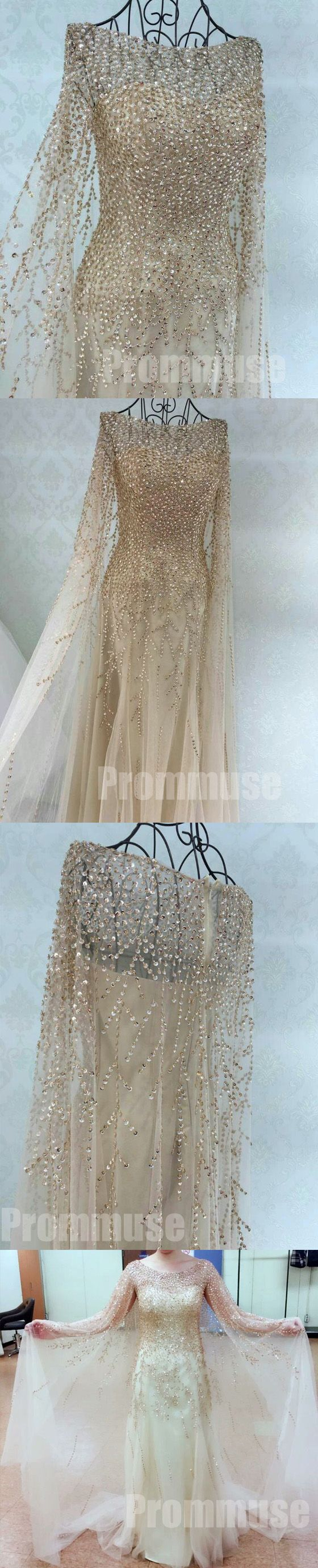 Gorgeous Long Sleeves Heavy Beaded Charming Long Prom Dresses, PM0796 #promdress #promdresses