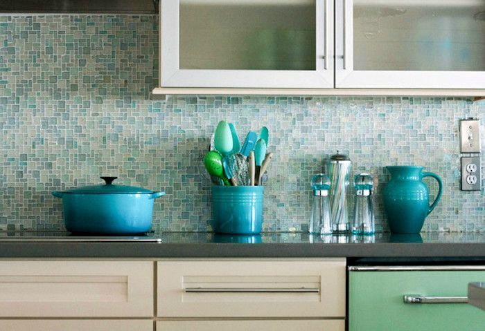 Turquoise And Pale Blue Glass Mosaic Tile Backsplash In A Kitchen With Cream And Mosaic Tile Kitchen Kitchen Backsplash Designs Glass Mosaic Tile Backsplash