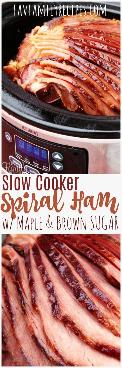 This slow cooker spiral ham with maple and brown sugar is a favorite of ours around the holidays! So much flavor and NEVER dry. #ChristmasHam #ChristmasDinner #HamDinner #HamLeftovers #LeftoverHam #CrockPotHam #SlowCookerHam #Easter #EasterDinner #EasterHam #SpiralHam #MapleHam via @favfamilyrecipz